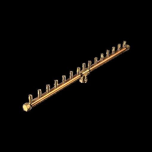 "Picture of CFBL150 Linear CROSSFIRE™ Brass Burnerr 150K BTU Brass Burner + 8"" x 38"" Plate + 3/4"" Flex Line Kit + FIT180"