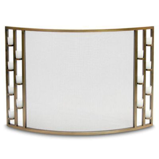 Picture of Candlewood Tea Light Bowed Screen Antique Brass
