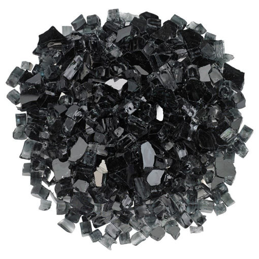 """Picture of 1/2"""" Black Reflective Fire Glass"""